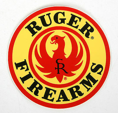 """VINTAGE NEW OLD STOCK 3.75"""" RUGER STICKER """"RUGER FIREARMS"""" Red/Black/Yellow"""