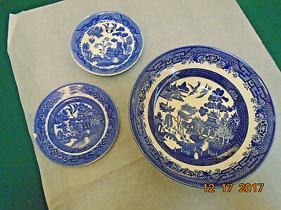Vintage Churchill Willow Blue  bowl, saucer and other plate.
