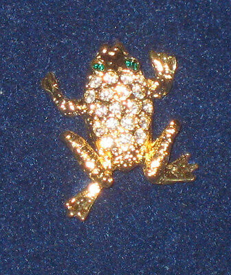 FROG Pin Crystals Princess House Luminess NEW in Box Green Eyes Goldtone