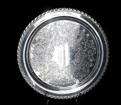 Antique William A. Rogers Silver Platter w/ Scalloped Edges