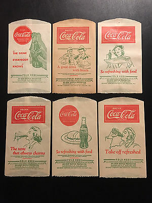 Vintage Six (6) Coca Cola Sleeves / Bottle Bags - NOS