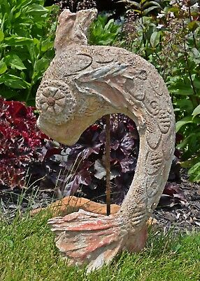 Fab MID CENTURY Weathered KOI FISH Garden ART SCULPTURE Cement STATUE Fountain