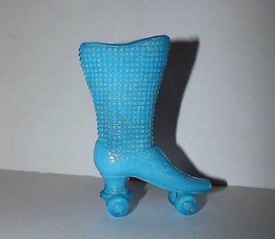 """Vintage Glass Roller Skate Shoe Boot Blue Opalescent Match/toothpick 4"""" Tall"""