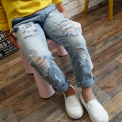 Kid Boy Girls Ripped Jeans Children Broken Hole Pants Baby Denim Clothing Outfit