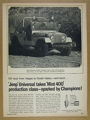 1968 Jeep UNIVERSAL photo Mint 400 Del Webb Desert Rally win Champion vintage Ad
