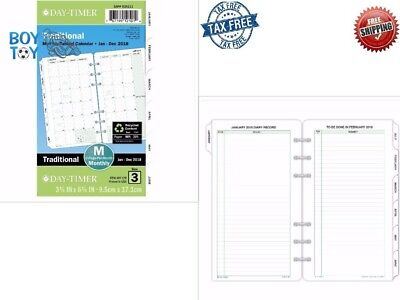 Day Timer Refill Two Portable Page Per Month January to December 2018 Loose Leaf