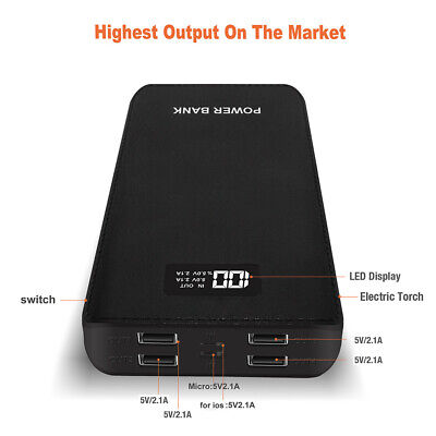 50000mAh LCD Power Bank 4USB LED Portable External Battery Charger for iPhone X