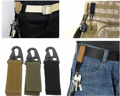 AU SELLER - Tactical Molle Key Hook Hanging Belt Buckle Clip Carabiner + Keyring