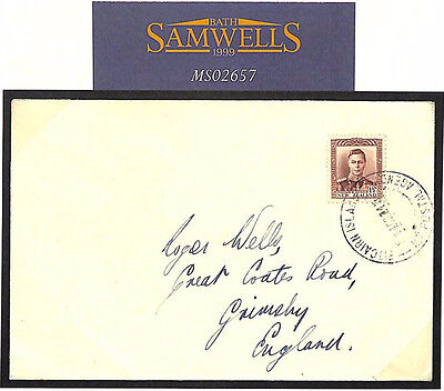 MS2657 1940 PITCAIRN ISLAND New Zealand Agency Last Day Cover Grimsby GB Lincs