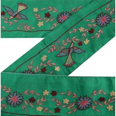 Sanskriti Vintage Sari Border Antique Hand Embroidered 1 YD Trim Sewing Green
