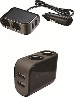 2 in1 Car Cigarette Lighter Socket Splitter 12/24V Dual USB Port Charger Adapter