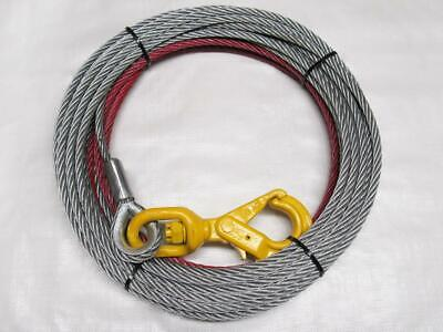 12MM X 50M Galvanised Winch Wire Rope - Self Locking Hook Grade 80 Pull Trailer