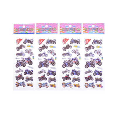 4pcs Various Motorcycle 3D Cartoon Stickers Children Boys Christmas Gift Toy gc0