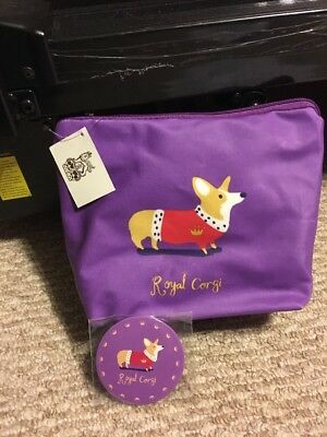 New! Pembroke Welsh Corgi Dog Cosmetic Bag And Mirror! Royal Corgi London
