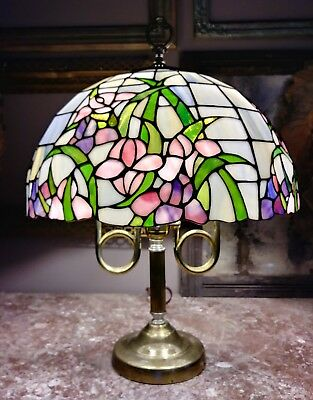 "16"" Antique Stained Glass Lampshade w/ Lamp - Flowers - Beautiful Light"