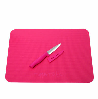 Tupperware Pink Chopping Cutting Mat Board and Paring Knife set in Pink NEW!