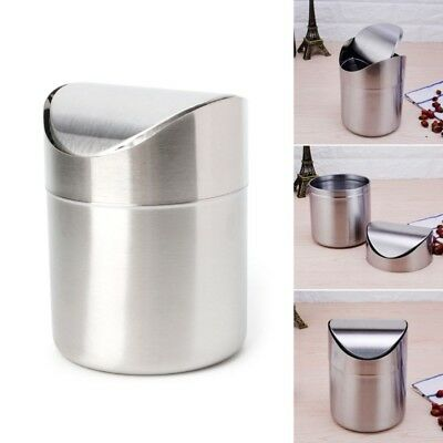 Stainless Steel Mini Desk Trash Bin Countertop Waste Can With Swing