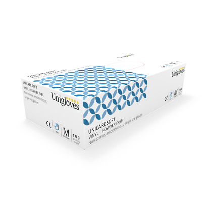 Unigloves BLUE Vinyl Powder Free Disposable Gloves Medical Cleaning Box of 100