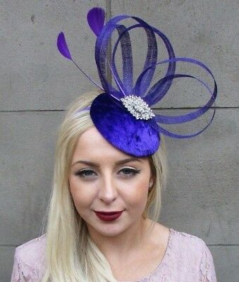Purple Silver Feather Fascinator Pillbox Hat Races Cocktail Formal Hair 4843