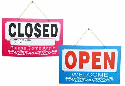 Shop Open Closed Sign Double Sided Hanging Window Door Business Red Blue
