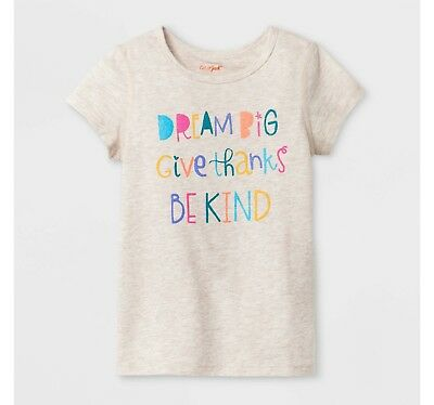Toddler Girls Sensory Friendly T-Shirt Cat & Jack Brown Be Kind Thanks Top Shirt