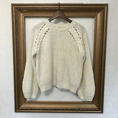 089ddf3533 JOA M White Knit Sweater Los Angeles Cream Off White Thick Chunky Pullover  Size