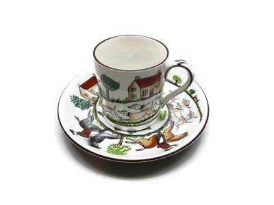 Crown Staffordshire Hunting Scene England 1 Demitasse Cup & Saucer Bone China