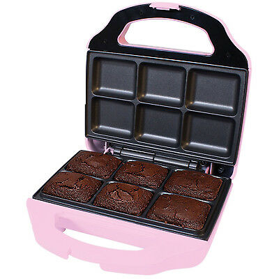 Global Gizmos Electric Mini Brownie Snack Maker Machine Non Stick Plates Pink