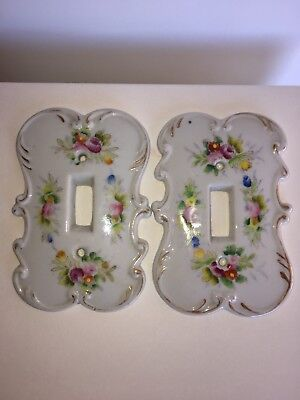 Vintage Pair Of Porcelain Arnart Japan Floral Switch Plate Covers #6712