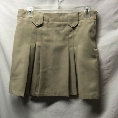 French TOast Girls Plus Sz 10 1/2 Skirt Tan Pleated School Uniform Adjustable