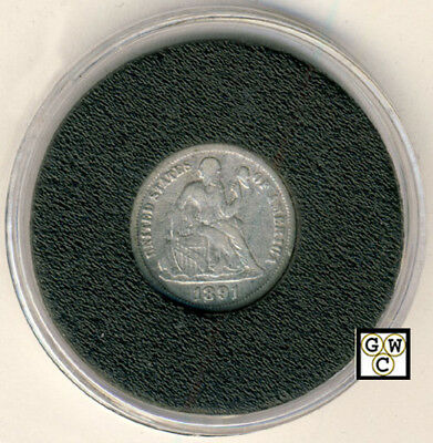1891 US Ten Cent Seated Liberty Silver Dime (OOAK)