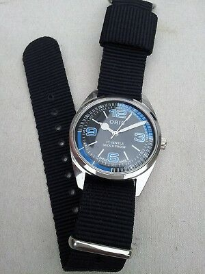 Vintage Oris Swiss Signed 17 Jewels Blue Tachymeter Diver Manual Hand Wind Watch