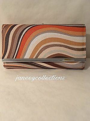 Ladies Women Brown Striped Faux Leather Long Wallet Clutch Card Holder Purse