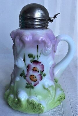 Ornate Antique Victorian Eapg Hand Painted Glass Syrup Pitcher Embossed Plumes