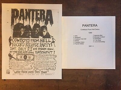 Pantera Flyer Copy + Free  Cd Cowboys From Hell Demo 1989