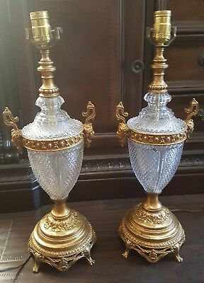 Pair Of Vintage Heavy German Real Lead Crystal Ormolu Gilt Mounted Brass Lamps