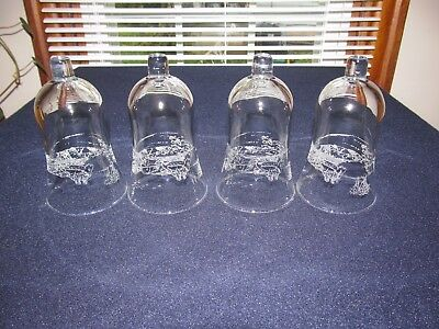 4 Home Interior/homco Frosted Sleigh Winterland Glass Candle Votive Cups W/box