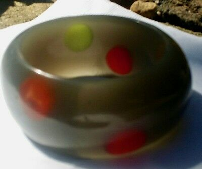 Vintage Plastic Lucite 1970's wide bangle Dots multi and silver/gray NOS