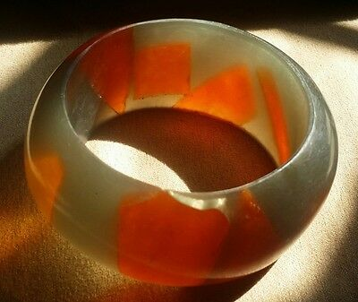 Vintage Plastic Lucite 1970's wide bangle orange and silver/gray NOS
