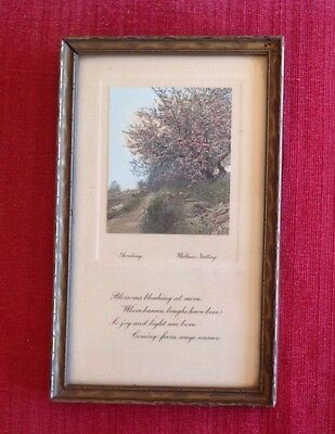 "Wallace Nutting Signed Greeting Card w/ Miniature Exterior & Poem ""Awaking""  9""T"