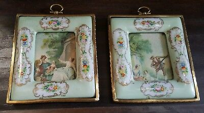 Pair Of Antique French Ormolu Gilt Trim Hand Painted Porcelain Frames
