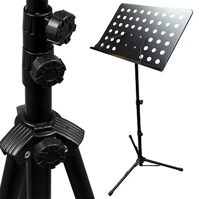 Music Conductor Stand Adjustable Metal Sheet Tripod Holder Folding Stage UU
