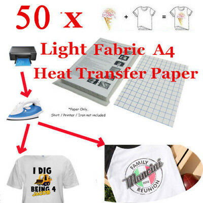 50 Sheet-T-Shirt Inkjet Iron-On Heat Transfer Paper, For Light Fabric,A4 US Ship