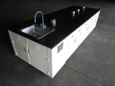 USED Lab Cabinets Lab Benches Lab Island with Sink, 12 feet by 54 inches
