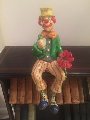 Los Gatos Hand Made Paper Mache Seated Clown Made in Mexico Halloween Scary IT