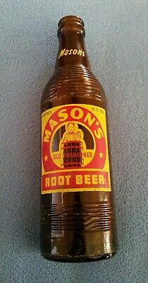 Vintage Mason's Old Fashioned Root Beer 10 oz. Bottle Brown Free U.S Shipping