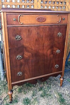 Gorgeous Vintage 4 Drawer Walnut Dresser 1940s?