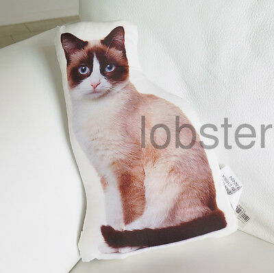 "PRETTY KITTY CAT PILLOW Tan Brown Photograph on fabric 14"" zipper cover"