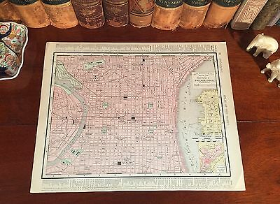 Original 1898 Antique Map PHILADELPHIA Pennsylvania PA Parks Historic Landmarks