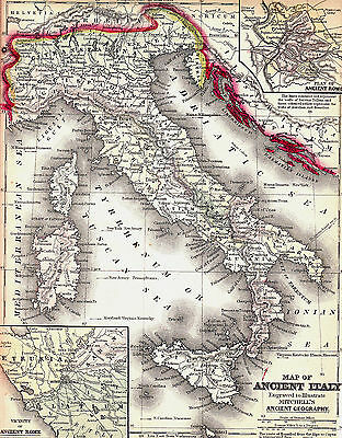 Original 1844 Hand-Colored Antique Map ITALY Florence Rome Milan Naples Venice